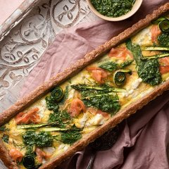 Salmon & Spring Greens Tart with a Walnut & Almond Pastry Crust